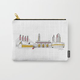 Kansas City Skyline Illustration in KC Football Colors Carry-All Pouch