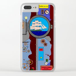 A Nautical Style Below Deck Port Hole Clear iPhone Case