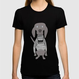 Weim Jailbird Grey Ghost Weimaraner Dog Hand-painted Pet Drawing T-shirt