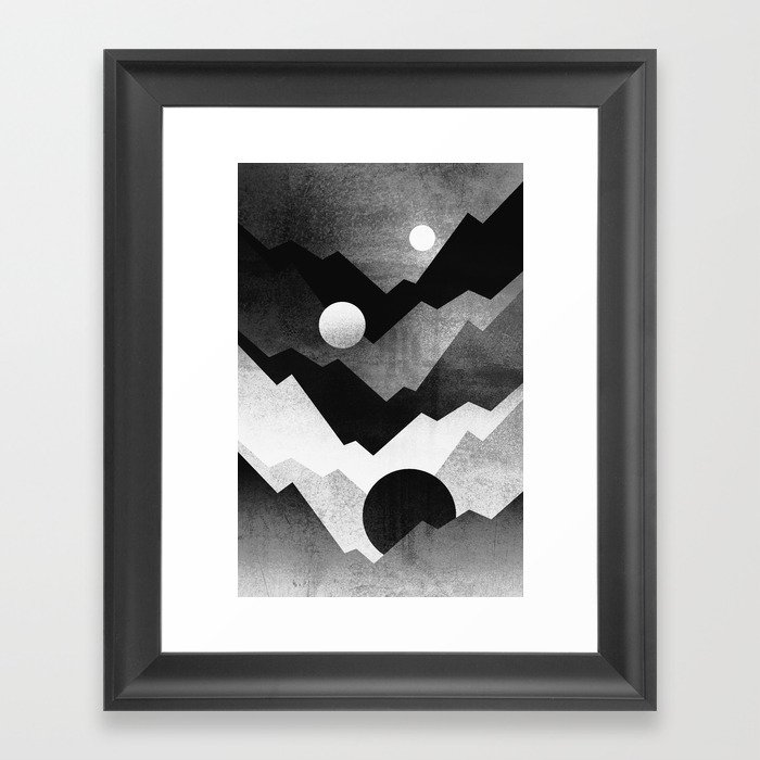 Nightfall / Black & white Framed Art Print