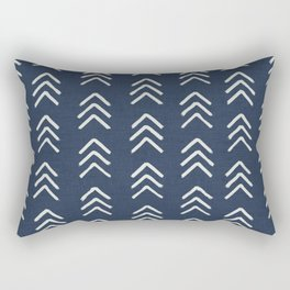 Denim & soft white brushed arrow heads, textured cloth Rectangular Pillow