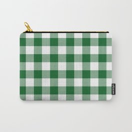 Hunter Green Checker Gingham Plaid Carry-All Pouch