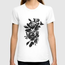 Pair of Black traditional tattoo roses T-shirt