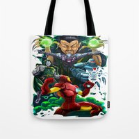 ironman Tote Bags featuring Ironman by Vincent Trinidad