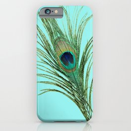 Peacock Feather on Blue Background iPhone Case