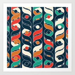 Colorful Vintage Geometric Stripes Pattern Art Print
