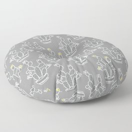 Cacti Gray pattern yellow gray white Floor Pillow