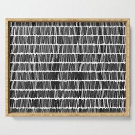 Infinite Lines Pattern - Black Serving Tray