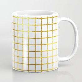 White & Gold Grid Coffee Mug