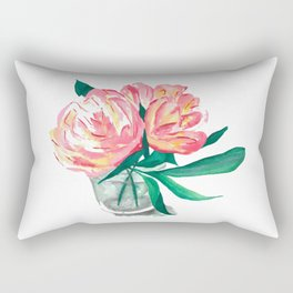 Two Pink Peony Flowers In Vase Rectangular Pillow