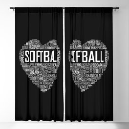 Softball Heart Love Blackout Curtain