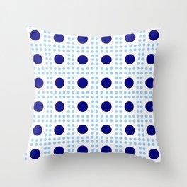 new polka dot 9 - dark and light blue Throw Pillow