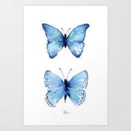 Two Blue Butterflies Watercolor Art Print