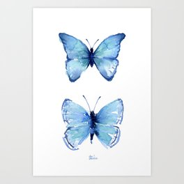 Two Blue Butterflies Watercolor Art Print
