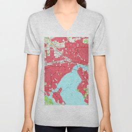 Vintage Map of Jacksonville Florida (1964) 2 Unisex V-Neck