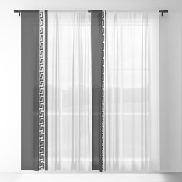 Greek Key 2 - White and Black Sheer Curtain