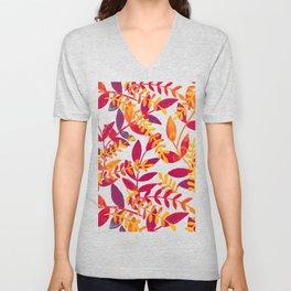 Watercolor branches - purple and orange Unisex V-Neck