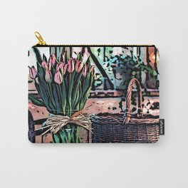 Wicker Basket And Flowers Carry-All Pouch