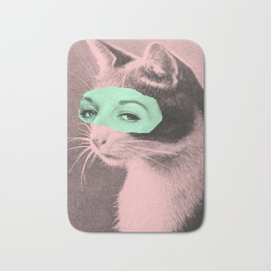 Indifferent Cat Woman Bath Mat