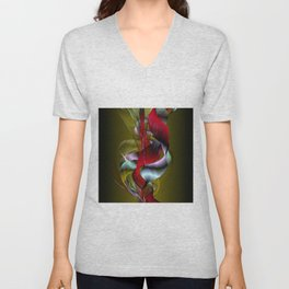 Flowered Khaki Unisex V-Neck