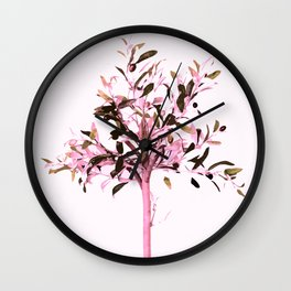 Little olive tree with pink tones on a white background Wall Clock