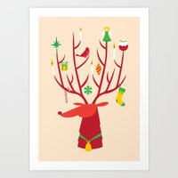 reindeer Art Prints featuring Reindeer by Wharton