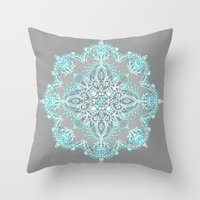 bedding Throw Pillows featuring Teal and Aqua Lace Mandala on Grey by micklyn