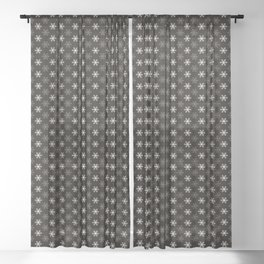 Snowflake Pattern | Winter | Hygge | Scandi | Black and White | Sheer Curtain