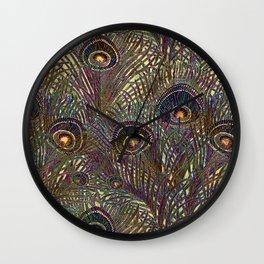 Peacock Feathers In Garnet and Indigo Wall Clock
