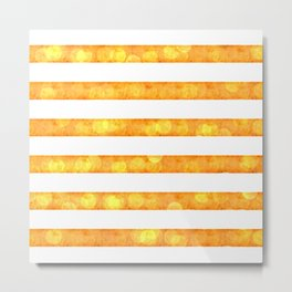 Bokeh Stripes Gold And White - Glam Metal Print