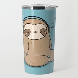 Kawaii Cute Sloth Listening To Music Travel Mug