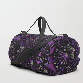 Purple Night Glow Flower Meadow , Rich Fuchsia Pink and Lilac Blooms Glowing in the Dark Black Night Duffle Bag