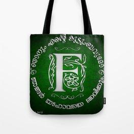 Joshua 24:15 - (Silver on Green) Monogram F Tote Bag