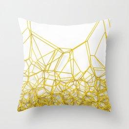 Yellow voronoi lattice on white background Throw Pillow