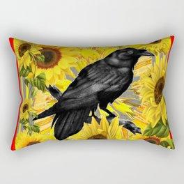 RAVEN & SUNFLOWERS FIELDS  RED ART Rectangular Pillow