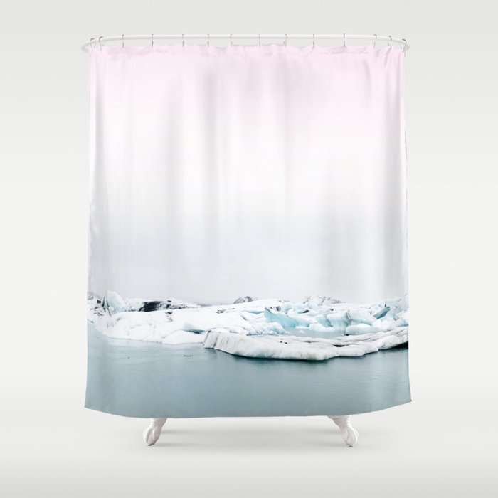 Beautiful glacier lagoon winter Shower Curtain by ...
