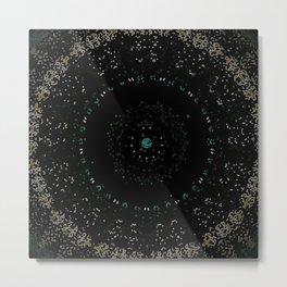 Pixel Dust Black Mandala Metal Print