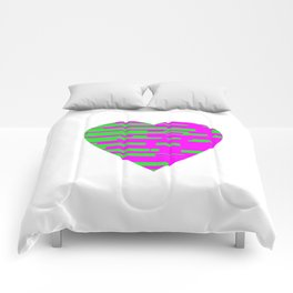 Glitching Hearts — Pink and Green Comforters