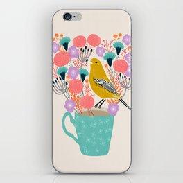 Bird and Flowers - Warbler by Andrea Lauren iPhone Skin