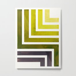 Olive Green Mid Century Modern Watercolor Colorful Ancient Aztec Art Pattern Minimalist Geometric Pa Metal Print