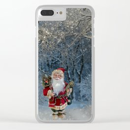 Santa claus in snowy landscape digital illustration Clear iPhone Case