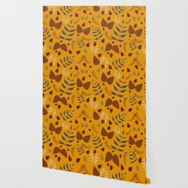 Autumn leaves and acorns - ochre and brown Wallpaper