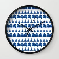 camping Wall Clocks featuring camping  by fiona duke designs