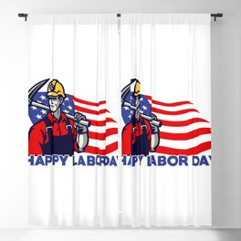 Worker American Labor Day Design Blackout Curtain