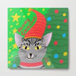 Christmas Cat short hair grey tabby yellow eyes Metal Print