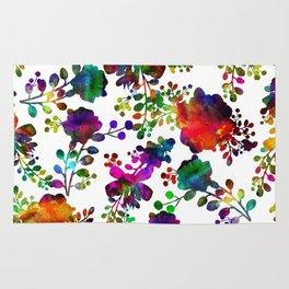 Watercolor unusual  flower rainbow doodle Rug
