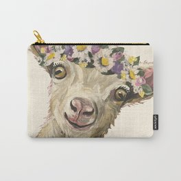 Flower Crown Animal, Goat Art, Farm Animal Carry-All Pouch