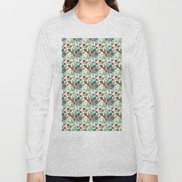 Bohemian modern pink blue green watercolor floral Long Sleeve T-shirt