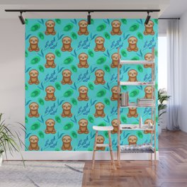 Funny cute sloths, tropical rainforest exotic green blue leaves pattern design. Sloth gift ideas Wall Mural