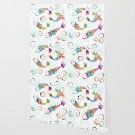 Koi - White Stream Wallpaper
